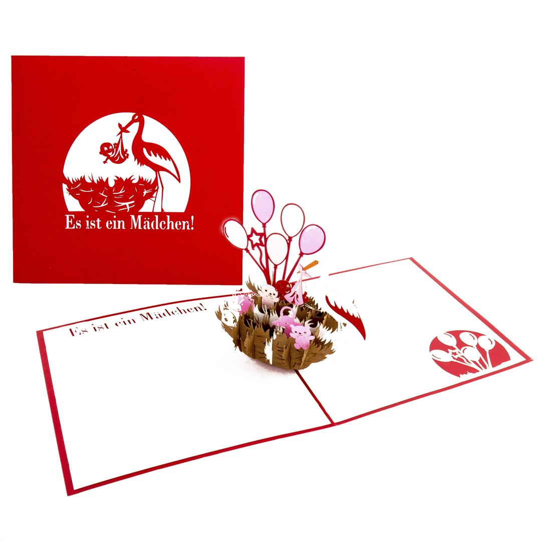 """Pop Up Karte """"Es ist ein Mädchen - Klapperstorch"""" - Geburtskarte, Glückwunschkarte zur Geburt"""