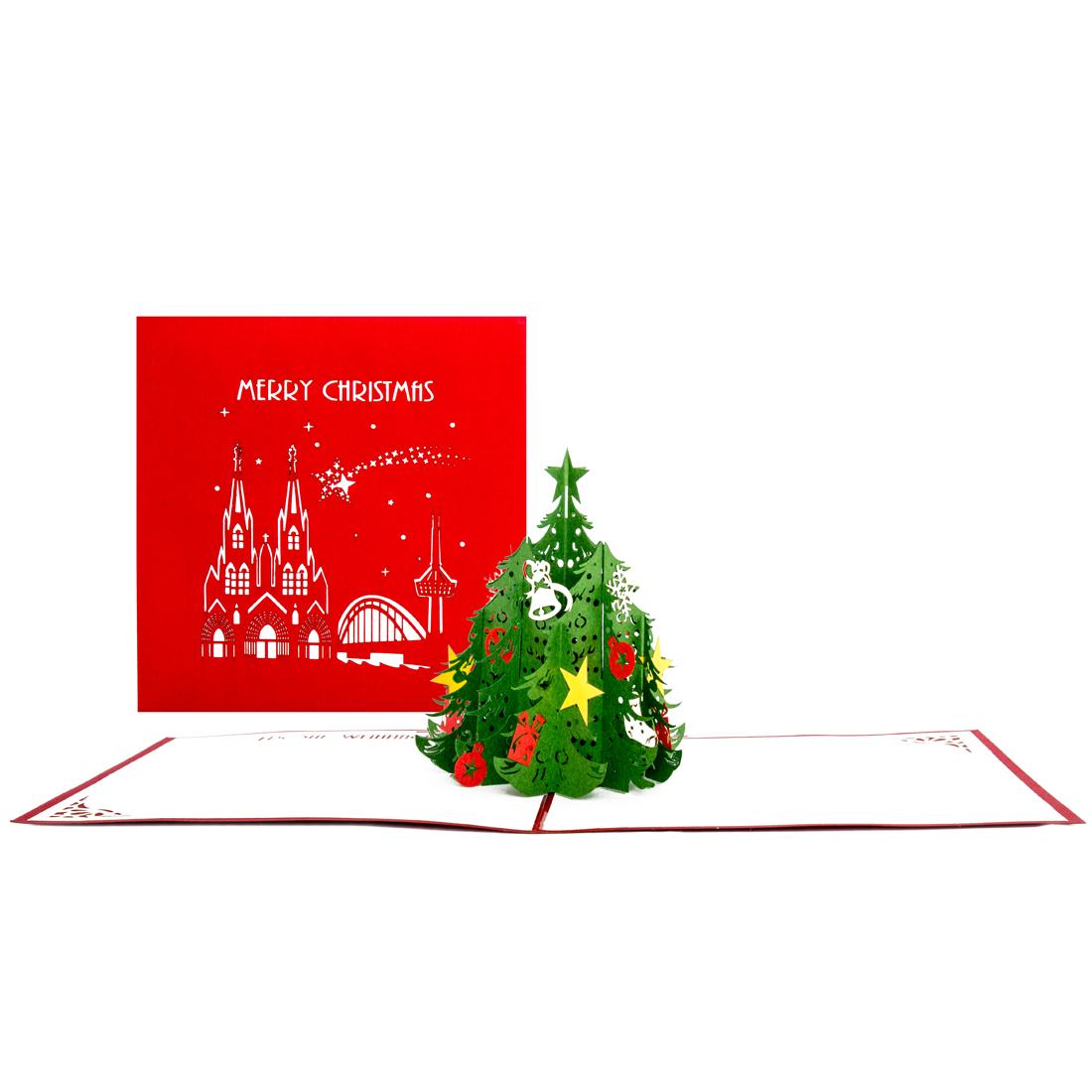 """3D Karte mit Köln-Motiv """"Merry Christmas"""" - Weihnachtskarte mit Umschlag"""