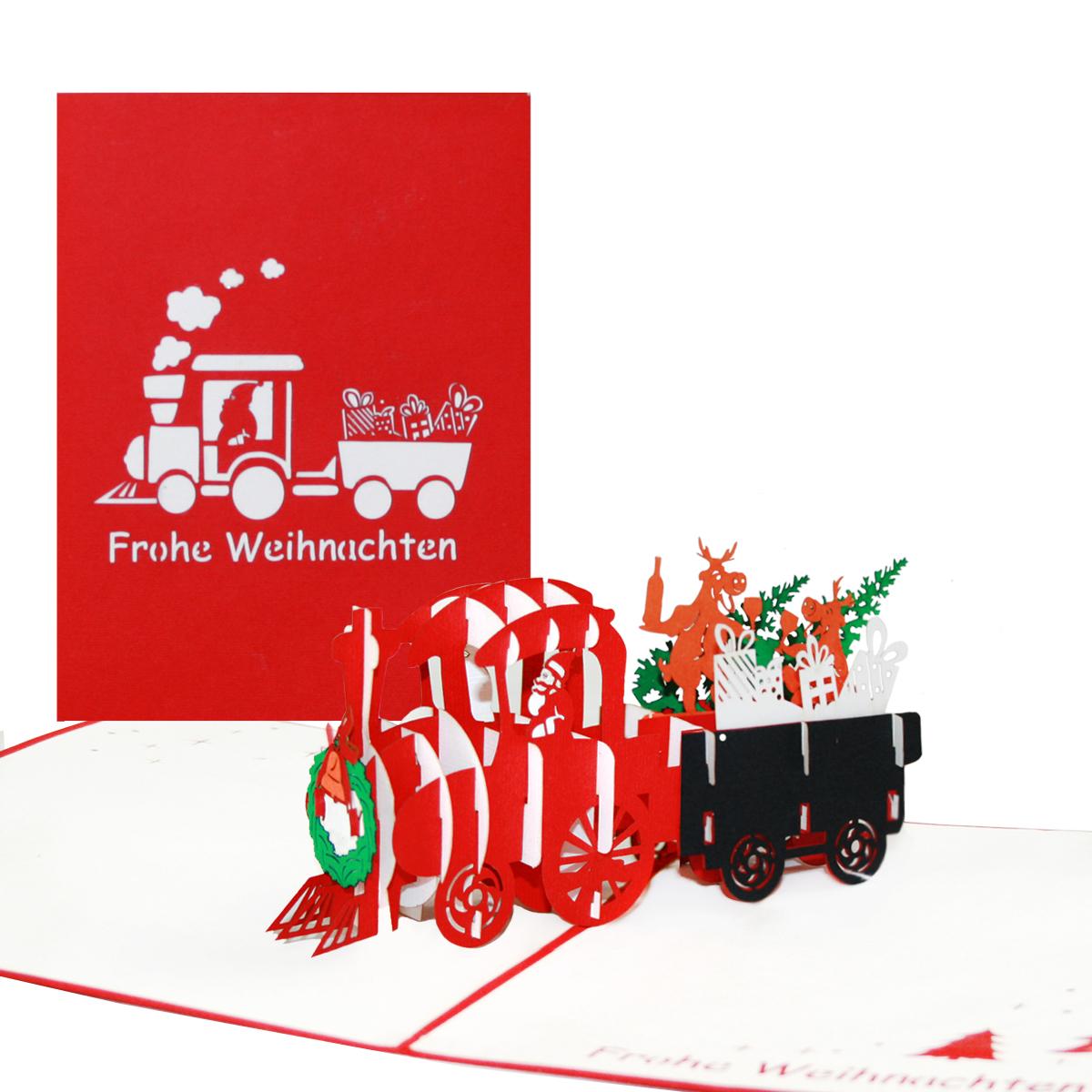 """Pop Up Karte """"Eisenbahn mit Nikolaus & Rentieren"""" - lustige Weihnachtskarte"""