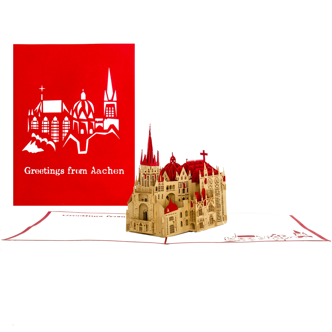 "3D Pop Up Karte ""Aachener Dom"" rot"