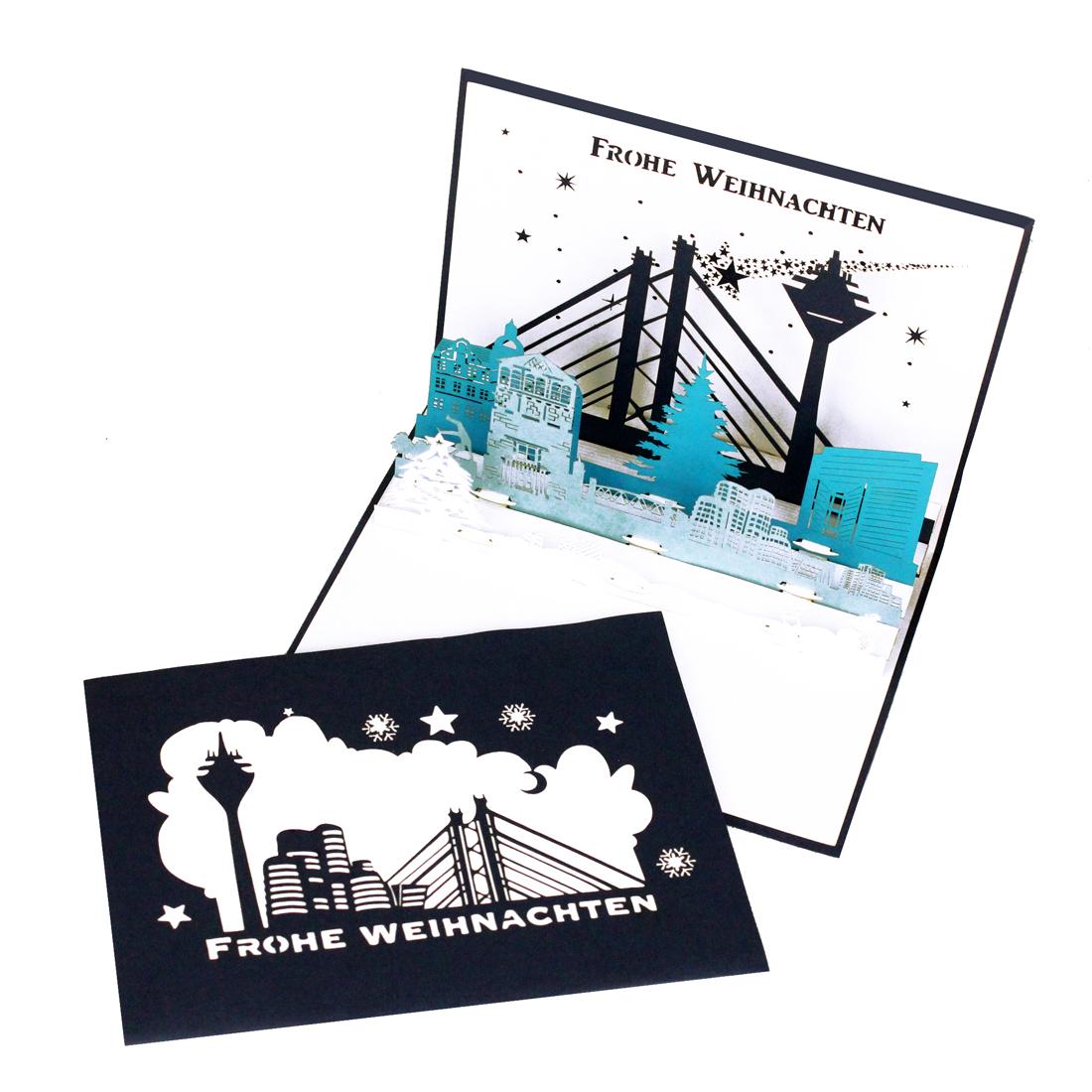 """Pop Up Karte """"Düsseldorf zur Weihnachtszeit"""" - Weihnachtskarte mit Umschlag"""