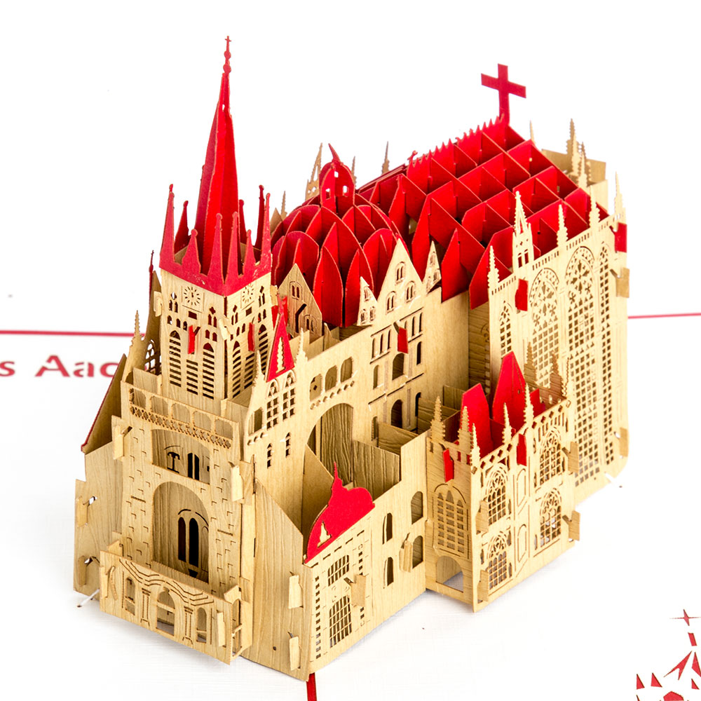 3D Pop Up Karte Aachen Dom in Rot