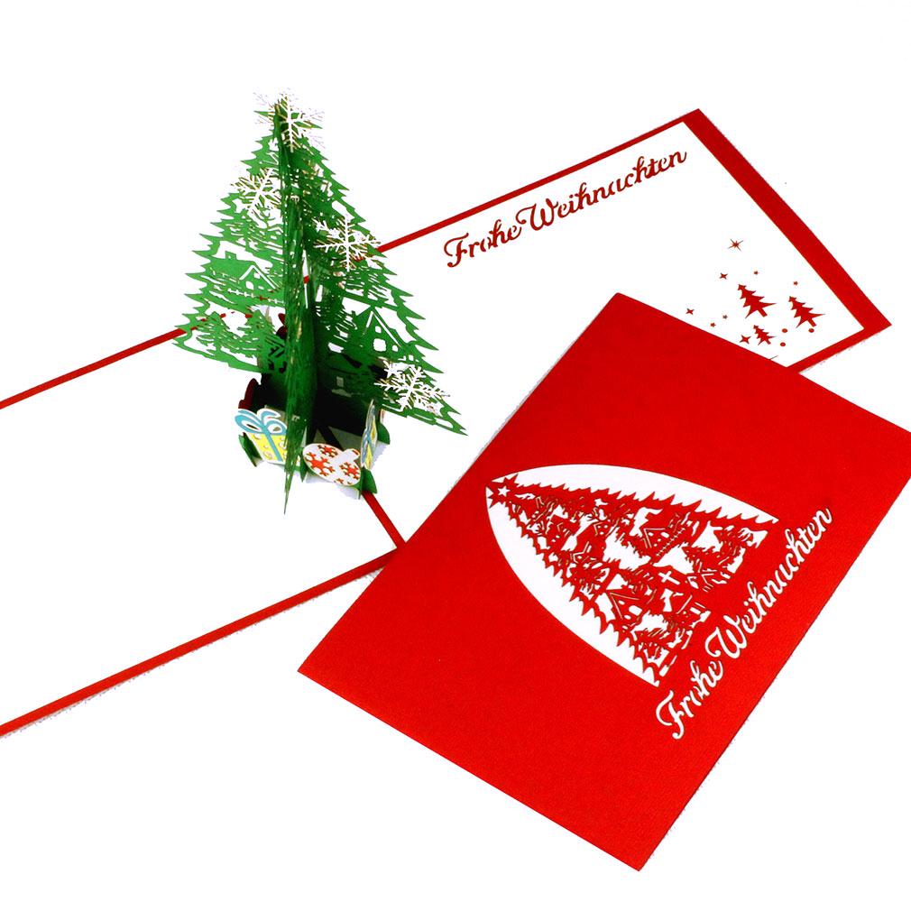 """Pop Up Karte """"Christbaum mit Winterlandschaft"""" - Weihnachtskarte, Gutscheinkarte"""