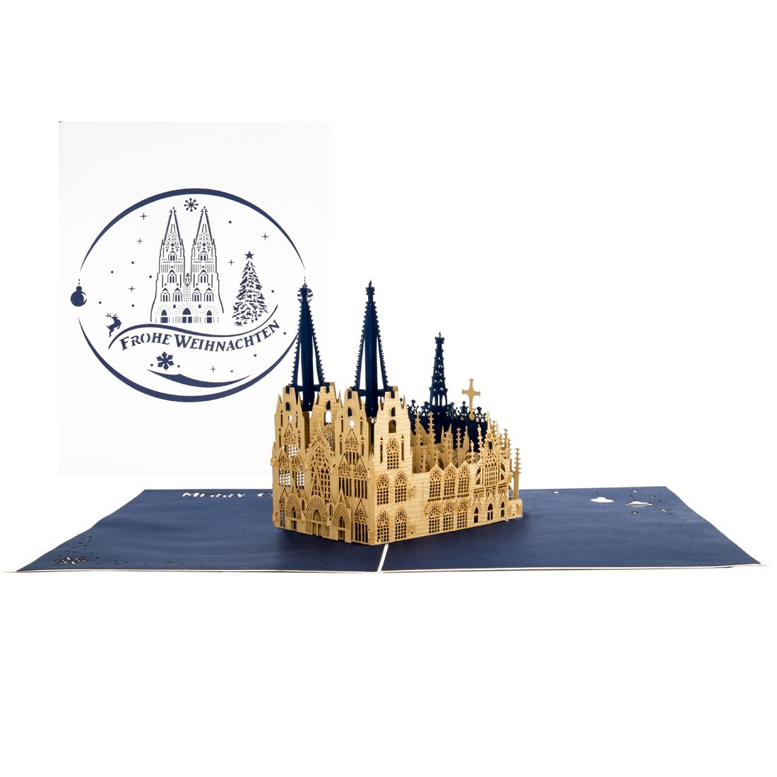 """3D Weihnachtskarte """"Kölner Dom - Frohe Weihnachten"""" - Karte zu Weihnachten"""