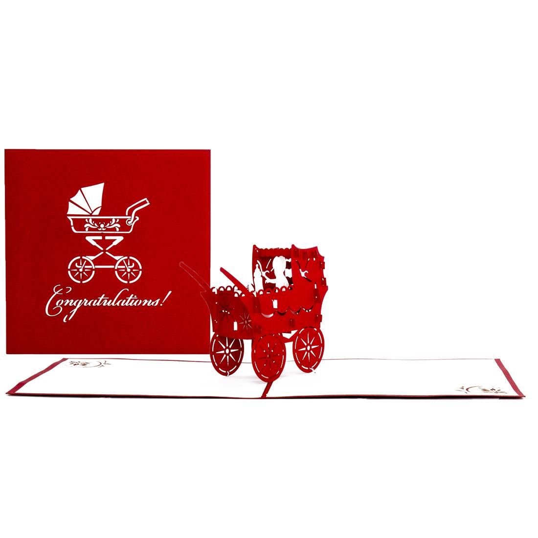 """3D Karte zur Geburt """"Kinderwagen"""" - Geburtskarte, englische Glückwunschkarte"""