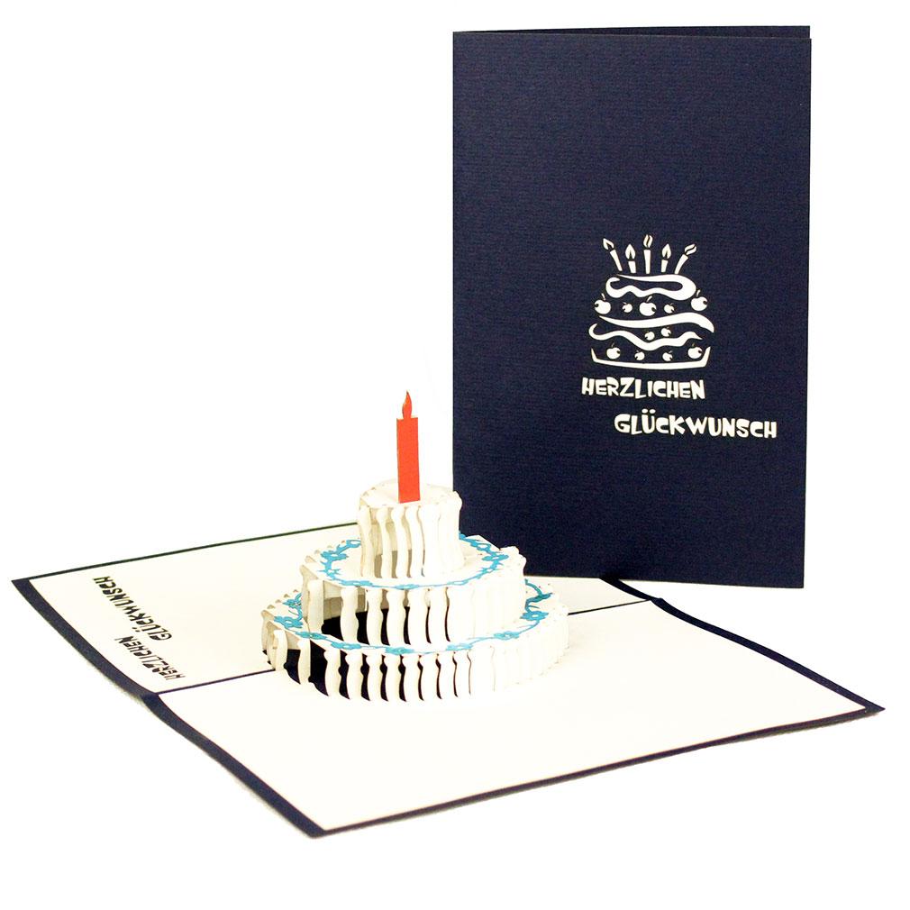 """Pop Up Karte """"Torte - Herzlichen Glückwunsch"""" - Geburtstagskarte, Glückwunschkarte zum Geburtstag"""
