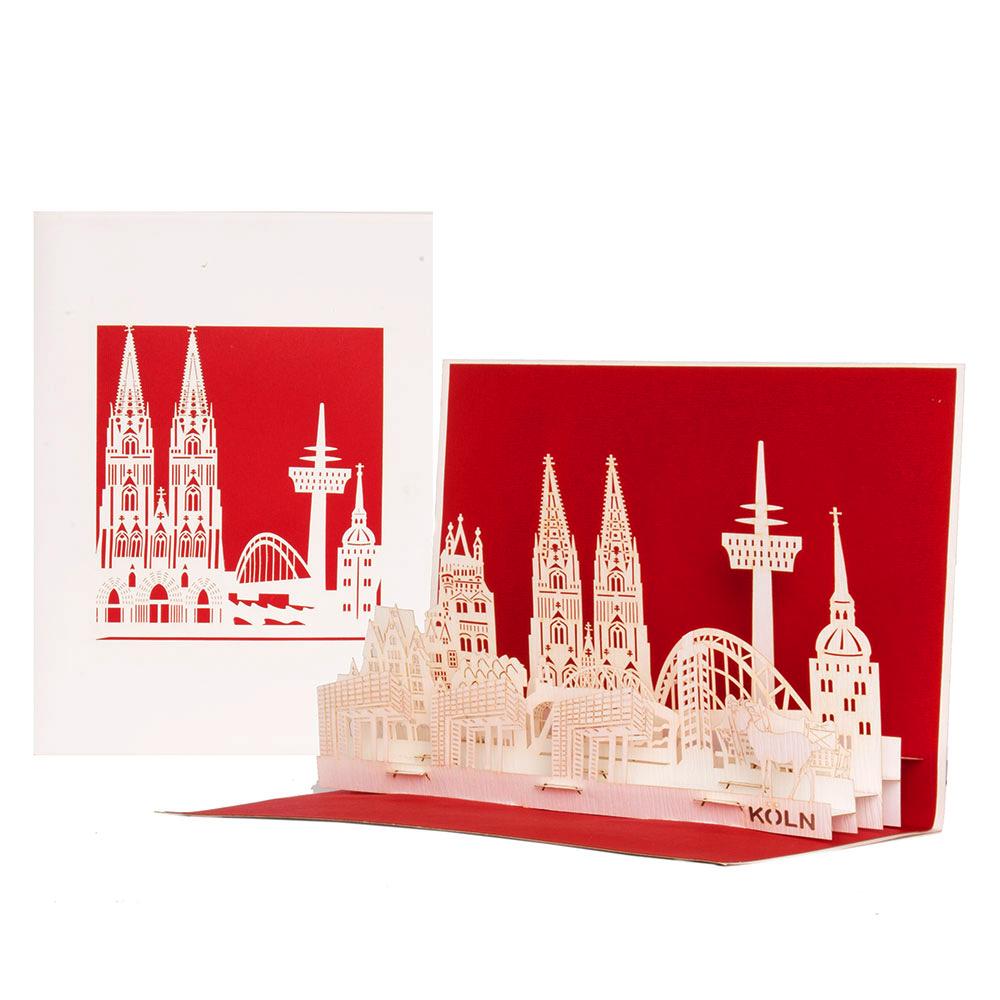 """Pop Up Karte """"Köln Skyline"""" - Grußkarte, Gutschein"""