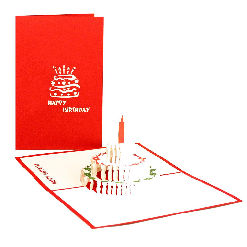 """3D karte """"Torte - Happy Birthday"""" - englische Geburtstagskarte mit Umschlag"""