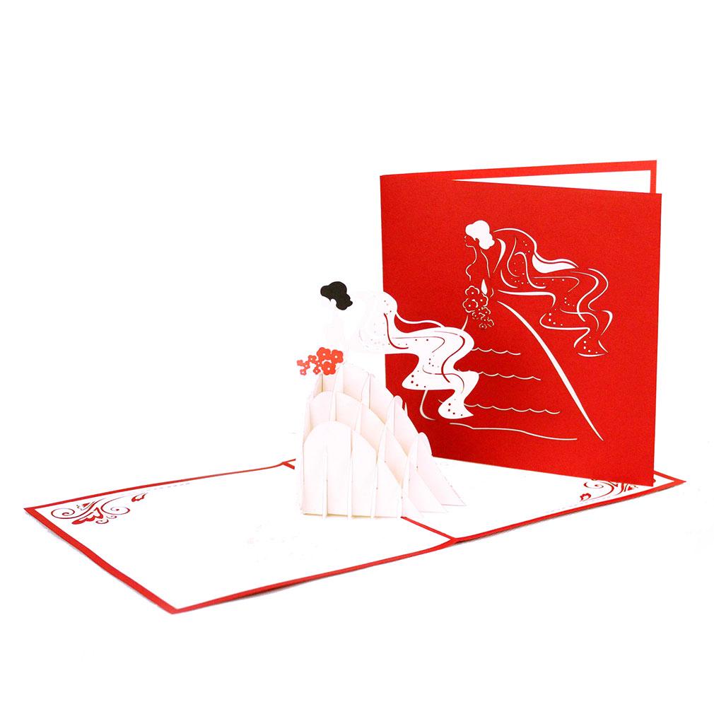 """3D Karte """"Braut & Brautstrauß"""" - Hochzeitskarte, Glückwunschkarte mit Umschlag"""
