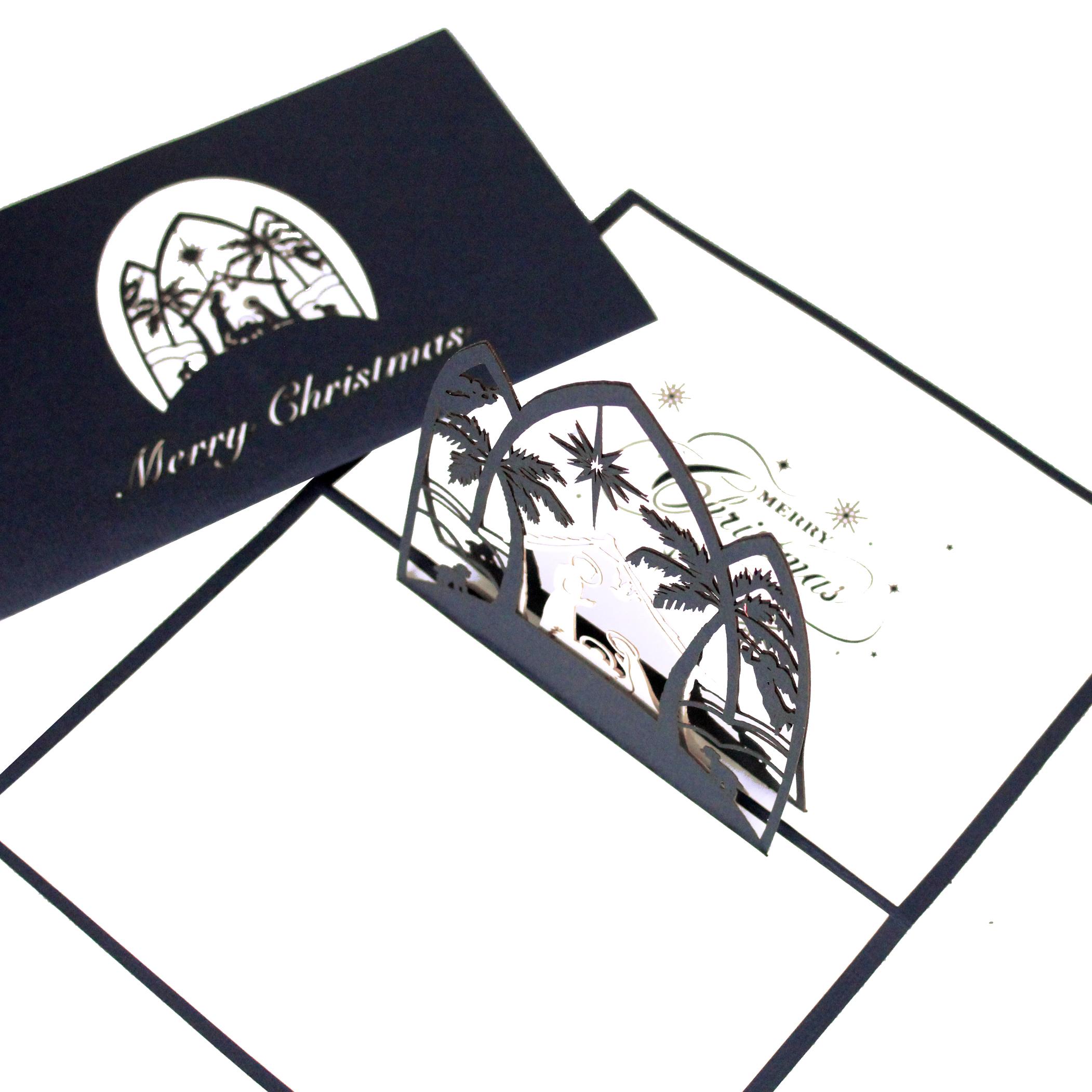 """3D Karte """"Krippe -Merry Christmas"""" - englische Weihnachtskarte mit Umschlag"""