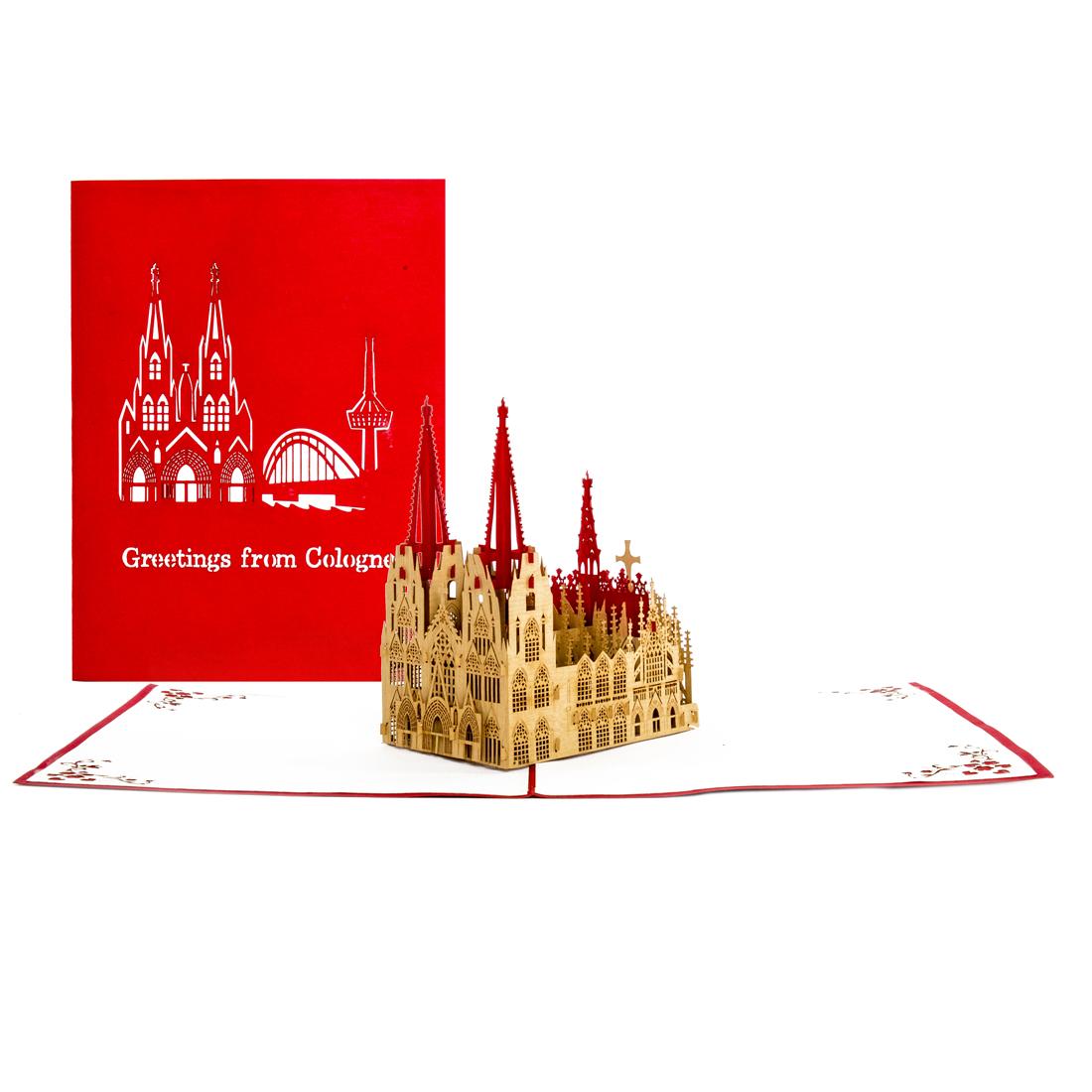 """Pop Up Karte """"Kölner Dom - Liebe Grüße aus Köln"""" - Glückwunschkarte, Gutschein"""