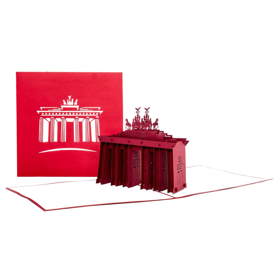"""Pop Up Karte """"Berlin - Brandenburger Tor"""" - Grußkarte mit Umschlag, Gutschein für eine Reise"""