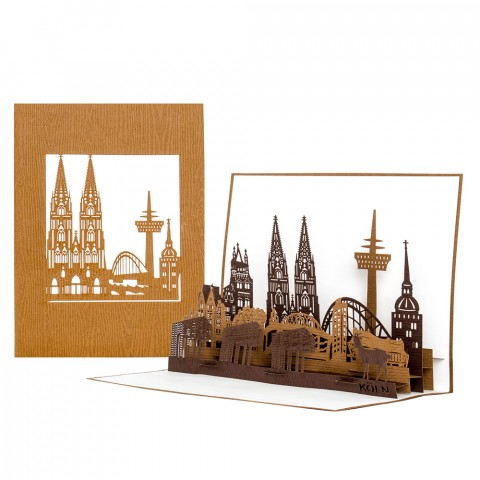"""Pop Up Karte """"Köln Skyline"""" - Reisegutschein, Einlaungskarte"""