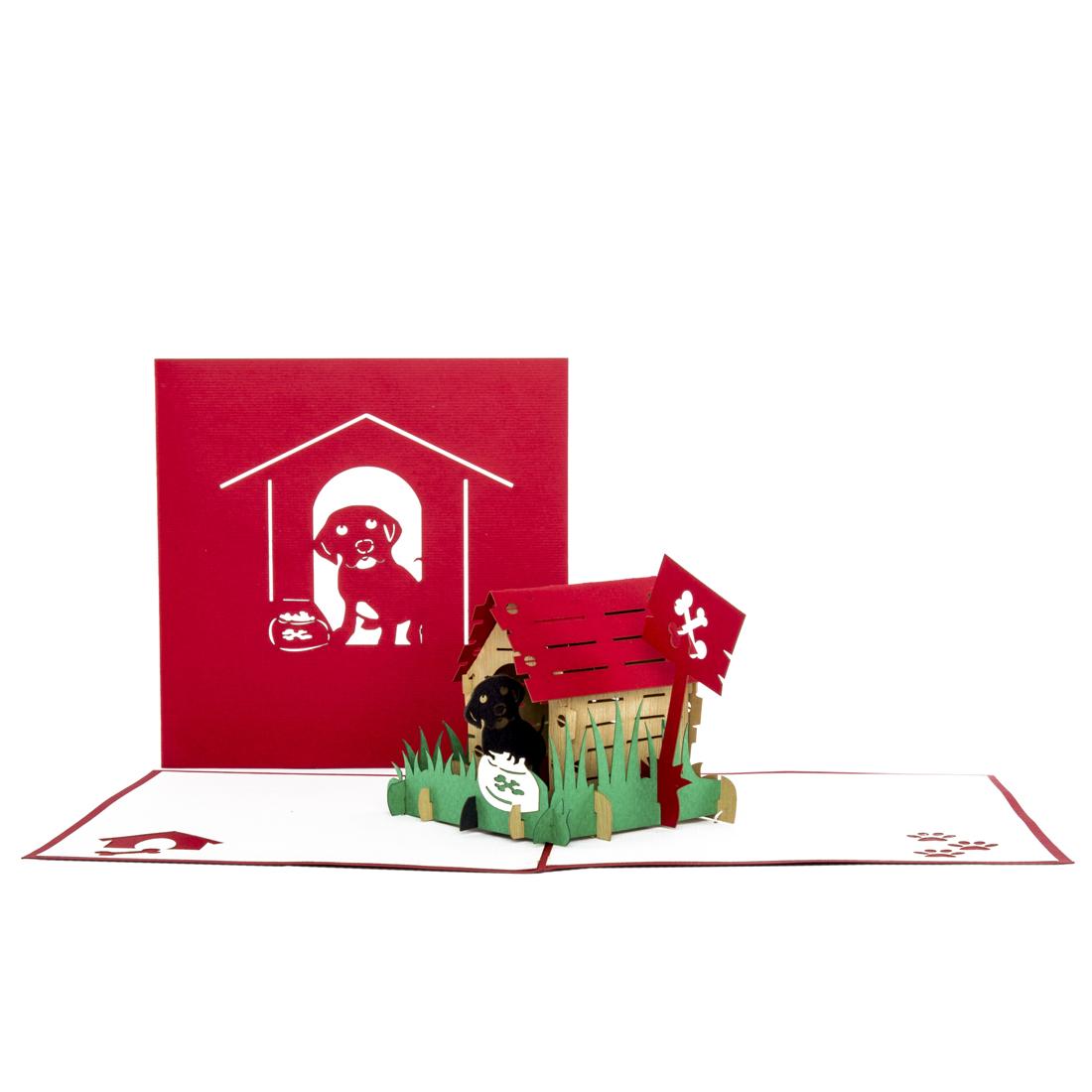 """Pop Up Geburtstagskarte """"Hund & Hütte"""" - Gutscheinkarte, Geldgeschenk"""