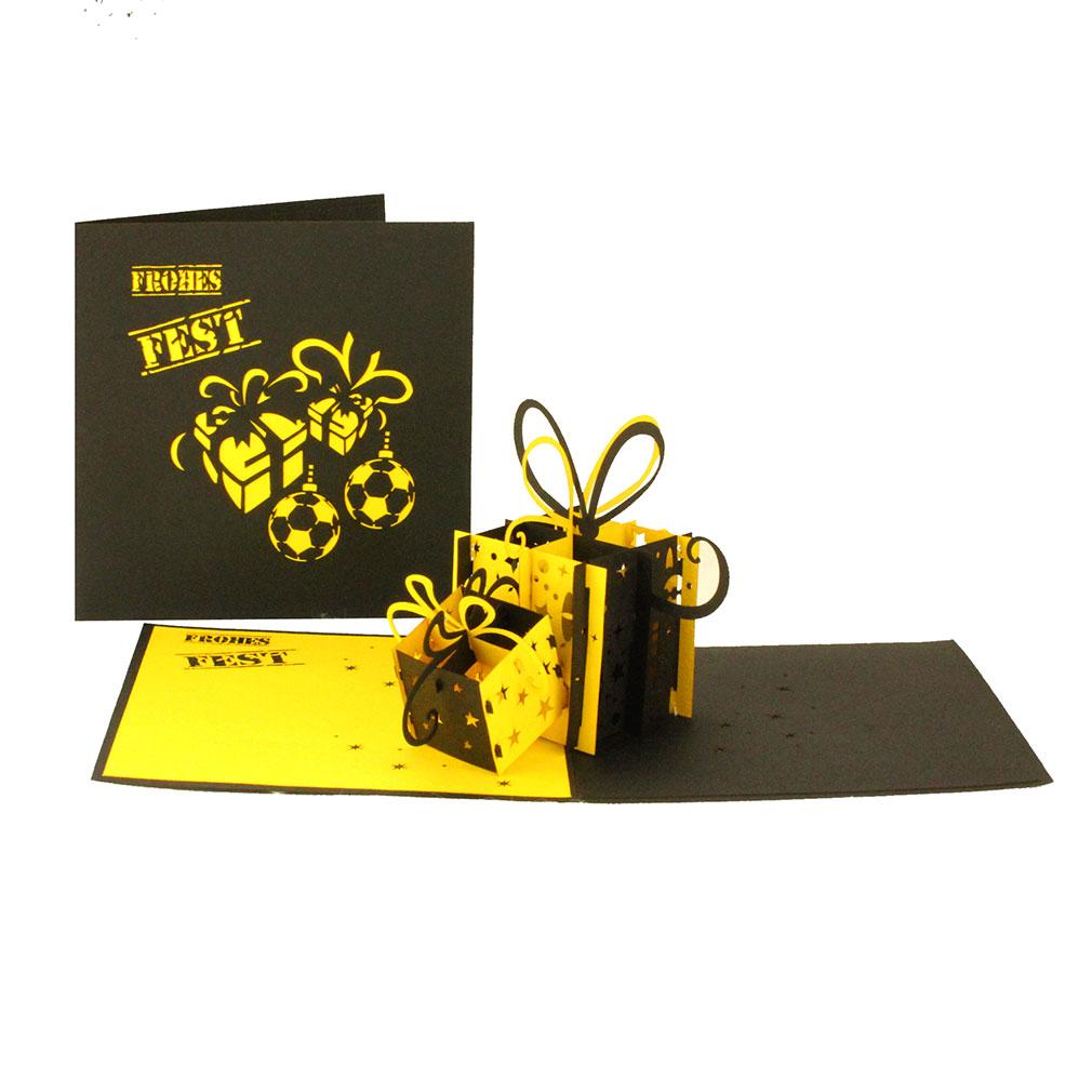 """Pop-Up Karte """"Geschenke Schwarz-Gelb"""" - Weihnachtskarte für Fußballfans von Dortmund oder Aachen"""