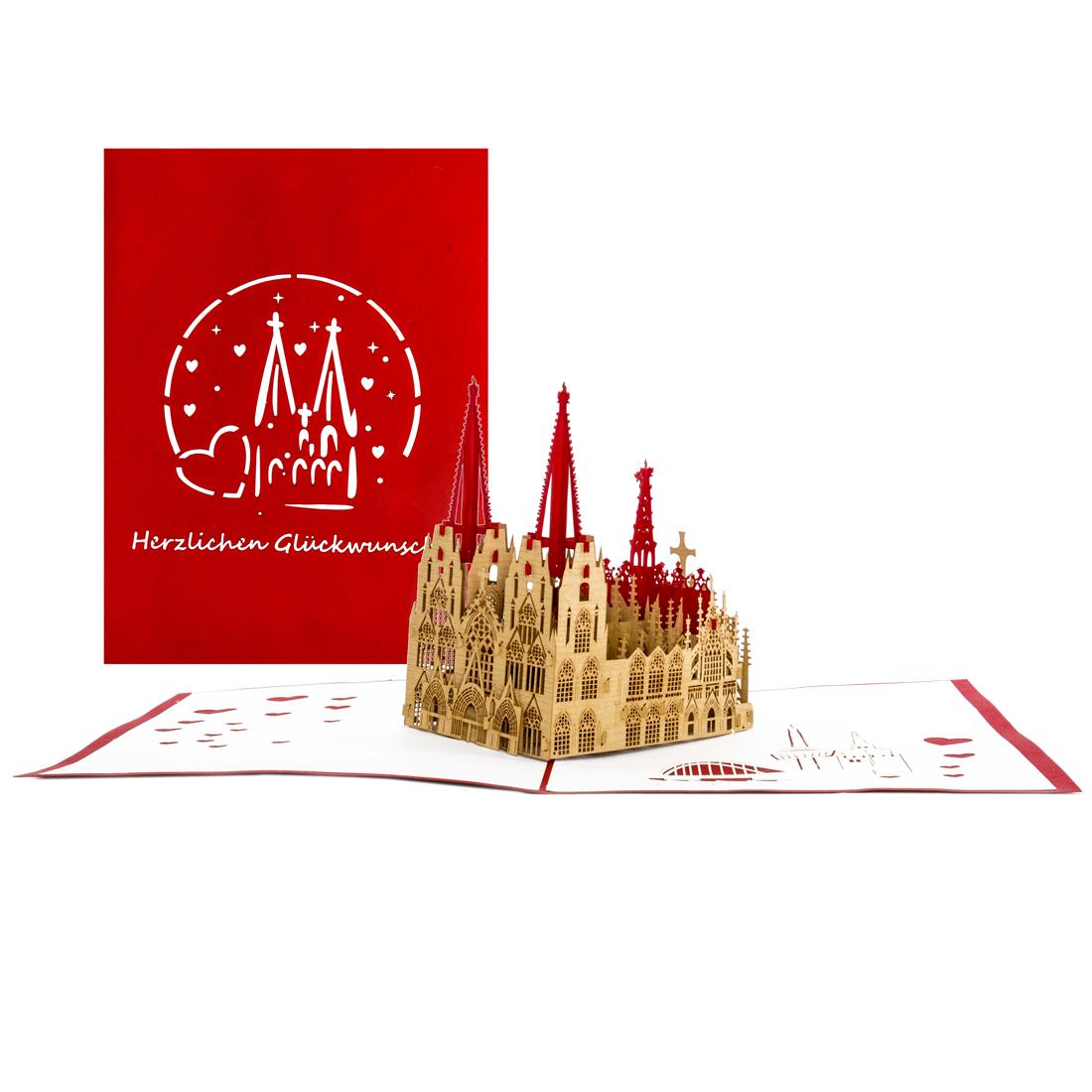 """Pop Up Karte """"Kölner Dom -Herzlichen Glückwunsch"""" - Geburtstagskarte mit Umschlag"""