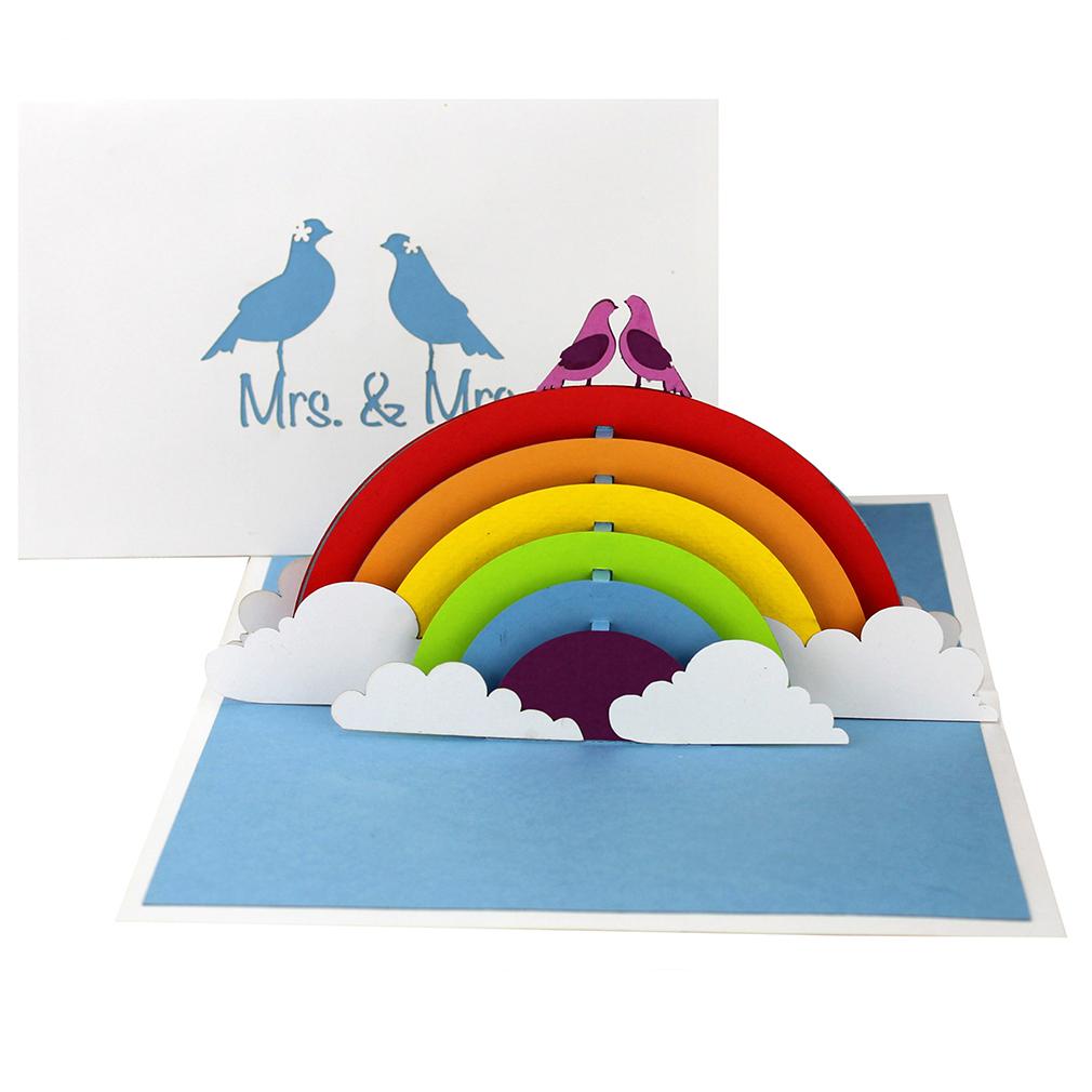"""3D Karte """"Lesbian Wedding"""" - Hochzeitskarte zur lesbischen Regenbogenhochzeit"""