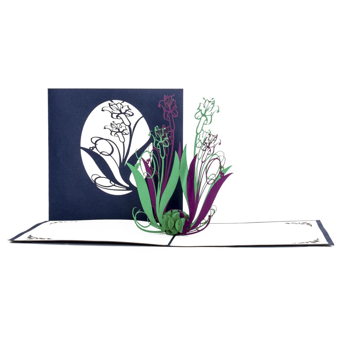 "Pop Up Karte ""Lilien"" - Blumenkarte, Dankeskarte"