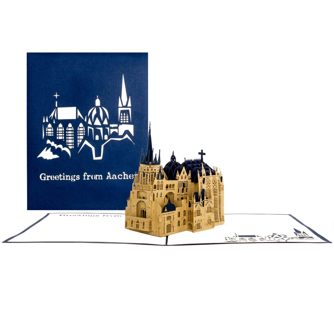 "Pop-Up Karte Aachener Dom ""Greetings from Aachen"" Blau"