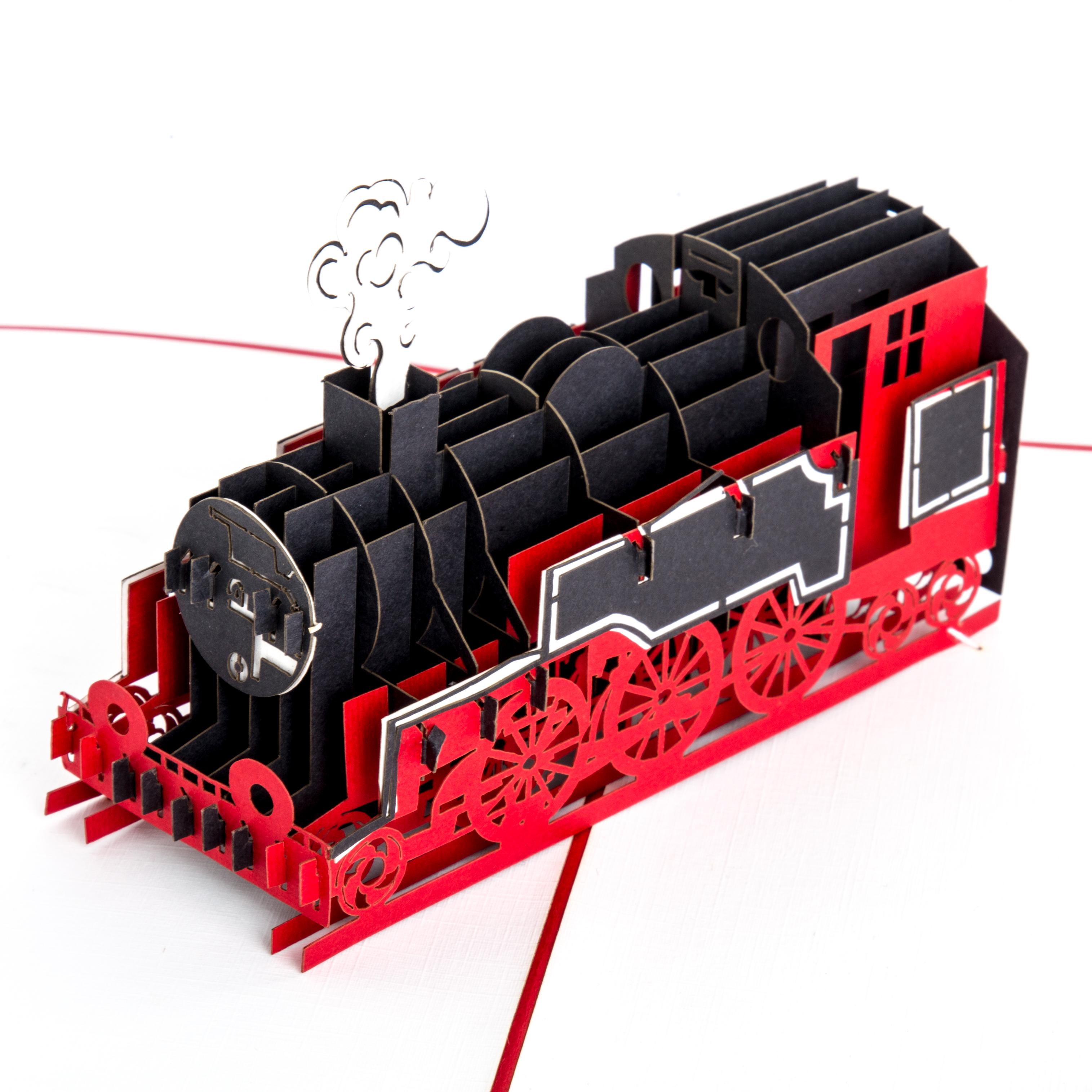 """Pop Up Karte """" Eisenbahn"""" -3D Geburtstagskarte, Bahngutschein, Gutschein"""