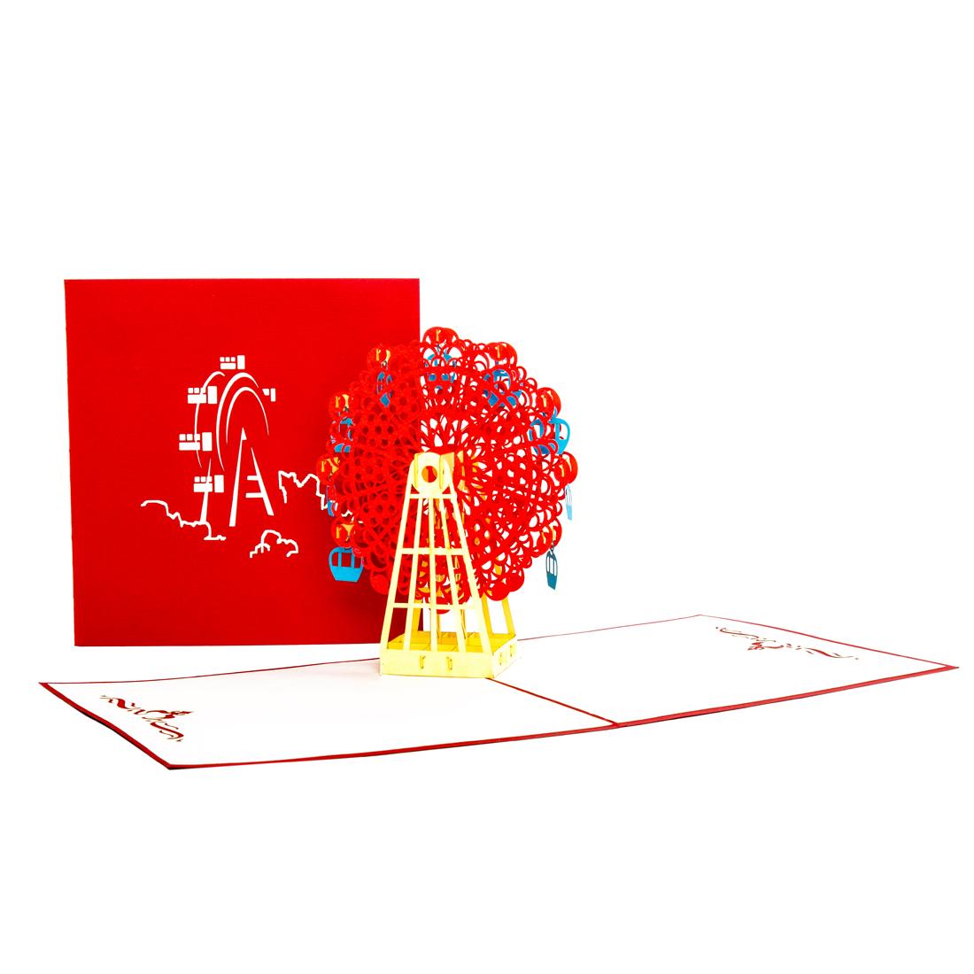 """Pop Up Karte """"Riesenrad"""" - Glückwunschkarte, Einladung oder Gutschein zur Kirmes"""