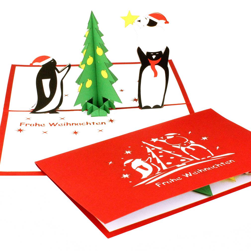 """Pop Up Karte """"Pinguine & Tannenbaum"""" - lustige Weihnachtskarte mit Umschlag für Kinder"""