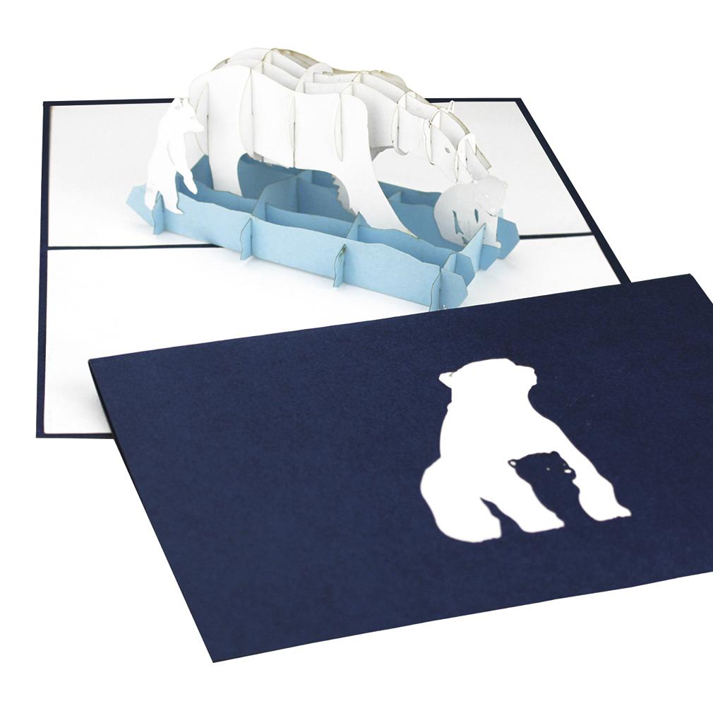 """Pop Up Karte """"Eisbär"""" - Glückwunschkarte, Gutschein für den Winterurlaub"""