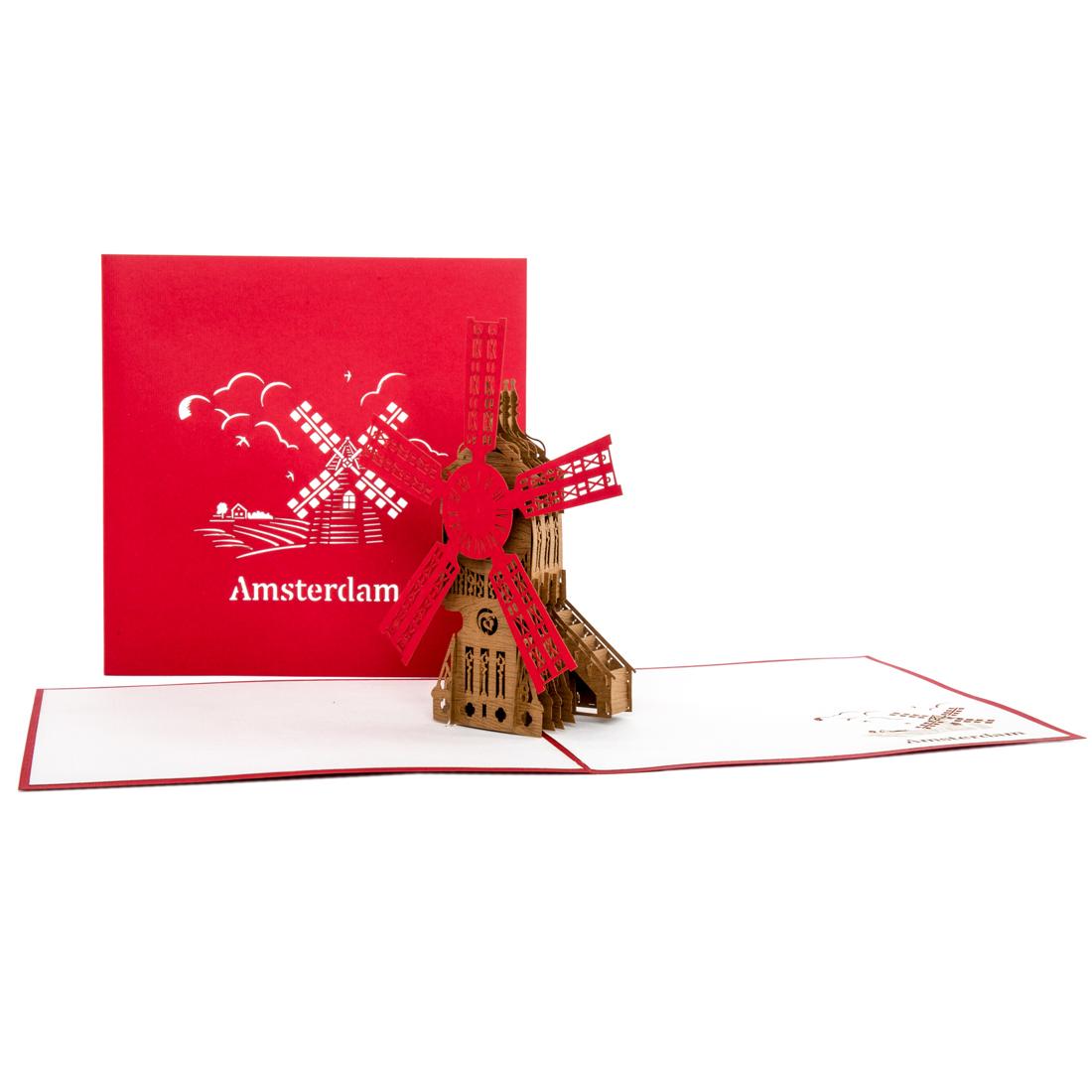 3D Pop Up Karte als Gutscheinverpackung, Geldgeschenk für Amsterdam Reise