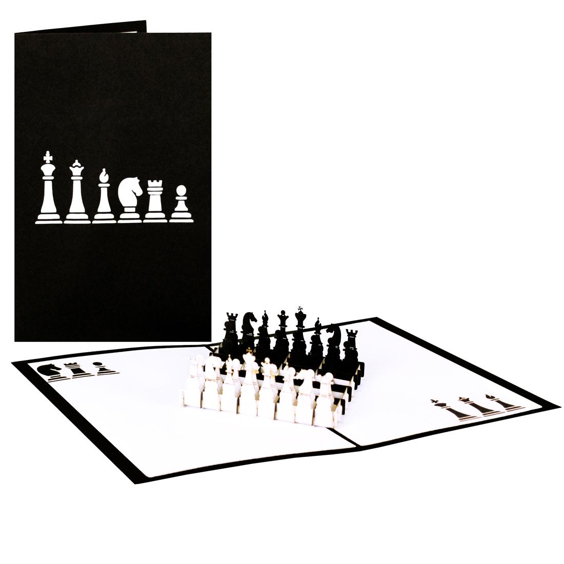 """Pop Up Karte """"Schachspiel"""" - Karte zum Ruhestand, Geburtstagskarte"""