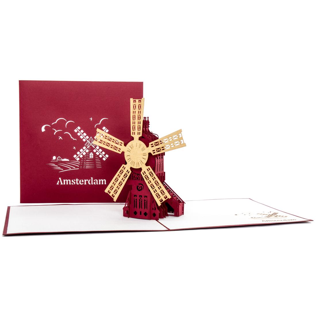 """3D Pop Up Karte """"Windmühle"""" Amsterdam z.b. als Reisegutschein"""