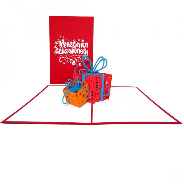 """Pop Up Geburtstagskarte """"Geschenke"""" -Glückwunschkarte zum Geburtstag"""