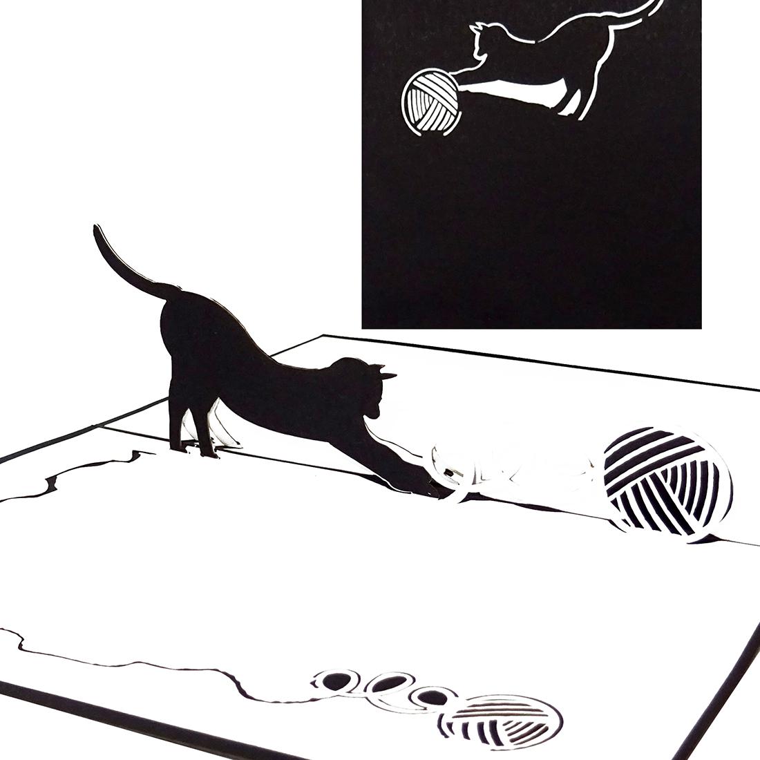 """3D Karte """"Schwarze Katze"""" - Geburtstagskarte für Katzenfans, Geldgeschenk"""