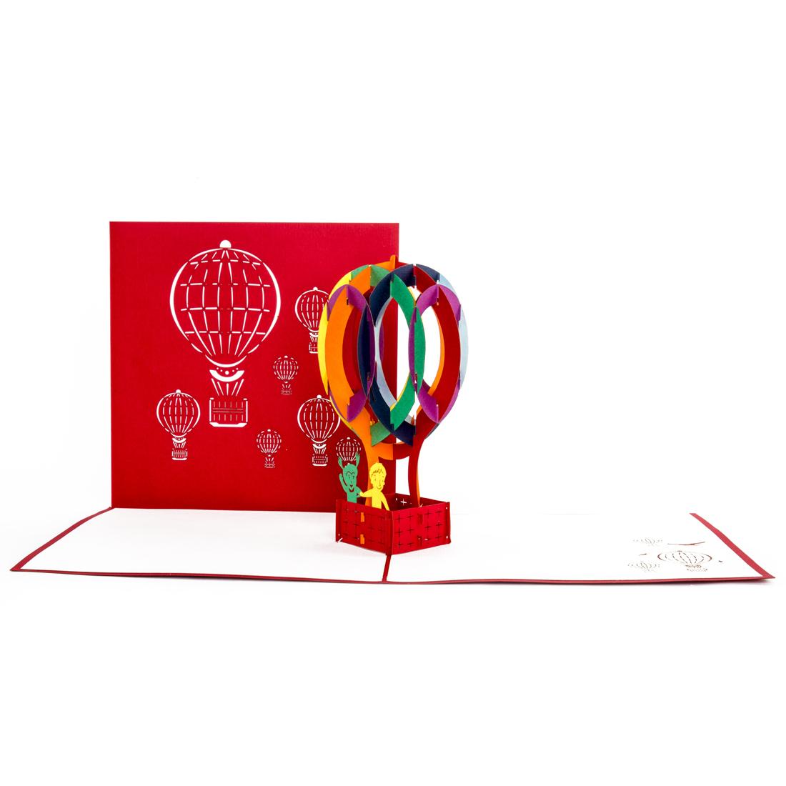 """Pop Up Karte """"Ballonfahrt im Heißluftballon"""" - Gutschein, Geburtstsgskarte"""