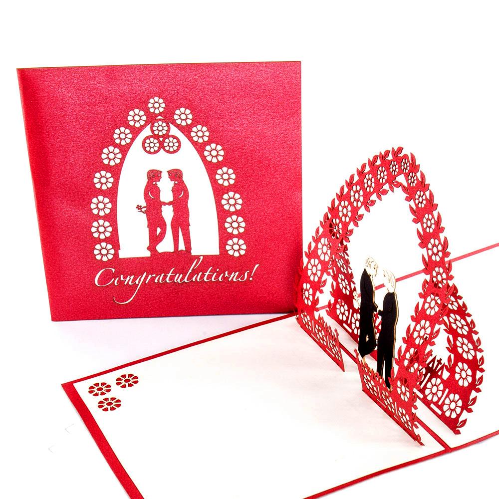 """3D Pop Up Hochzeitskarte """"Gay Wedding"""" zur schwulen Regenbogenhochzeit"""