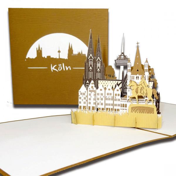 "3D Karte ""Köln – Panorama mit Kölner Dom"" Pop-Up Grußkarte als Souvenir, Geburtstagskarte"