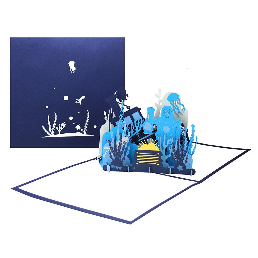 """Pop Up Karte """"Taucher"""" - Geburtstagskarte, Gutschein für Tauchausrüstung der Tauchkurs"""
