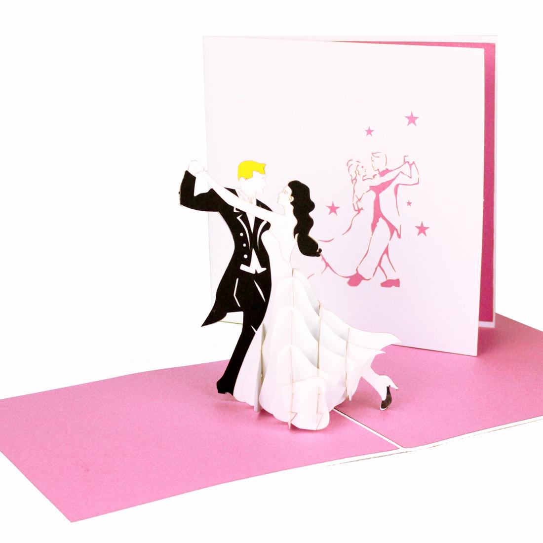 """Pop Up Karte """"Tanzpaar"""" - Hochzeitseinladungen mit Umschlag"""