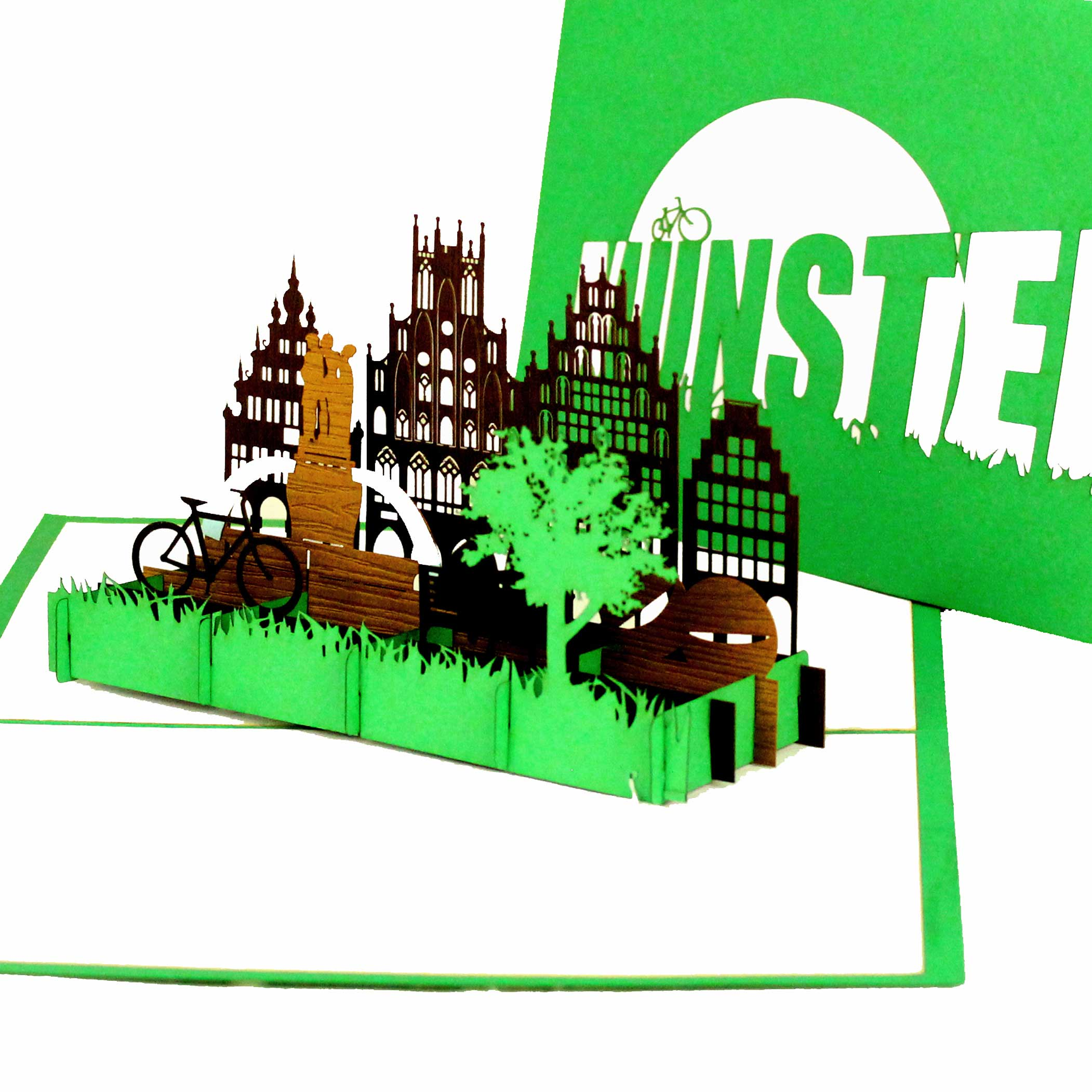 """3D Karte """"Münster"""" - Einladungskarte, Fahrradkarte, Gutschein"""
