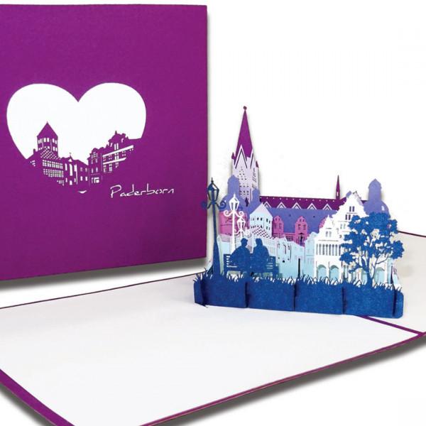 """Pop-Up Karte """"Paderborn – Skyline mit Paderborner Dom"""", 3D Grußkarte als Souvenir, Reisegutschein od"""