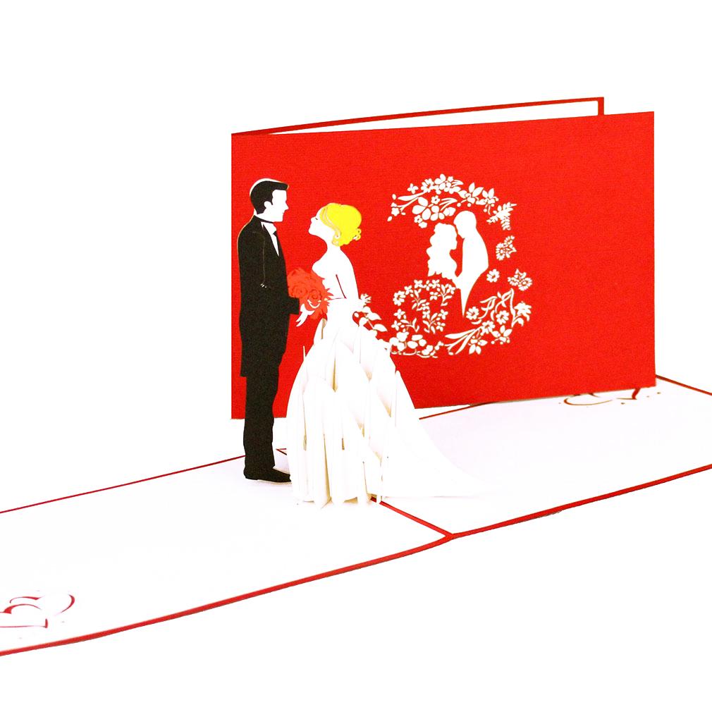 """3D Karte """"Brautpaar"""" - Hochzeitskarte, edle Hochzeitseinladung"""