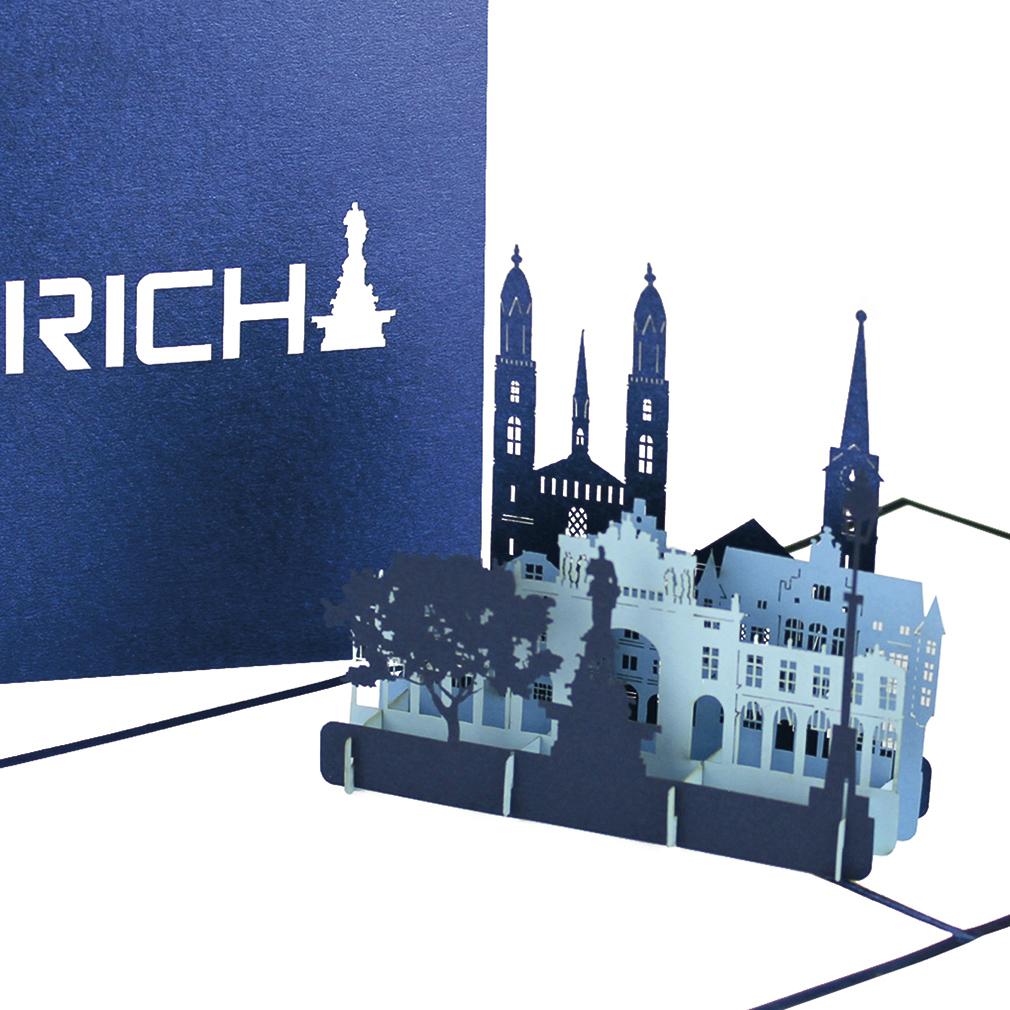"""Pop Up Karte """"Zürich"""" - Glückwunschkarte, Reisegutschein, Einladungskarte in die Schweiz"""