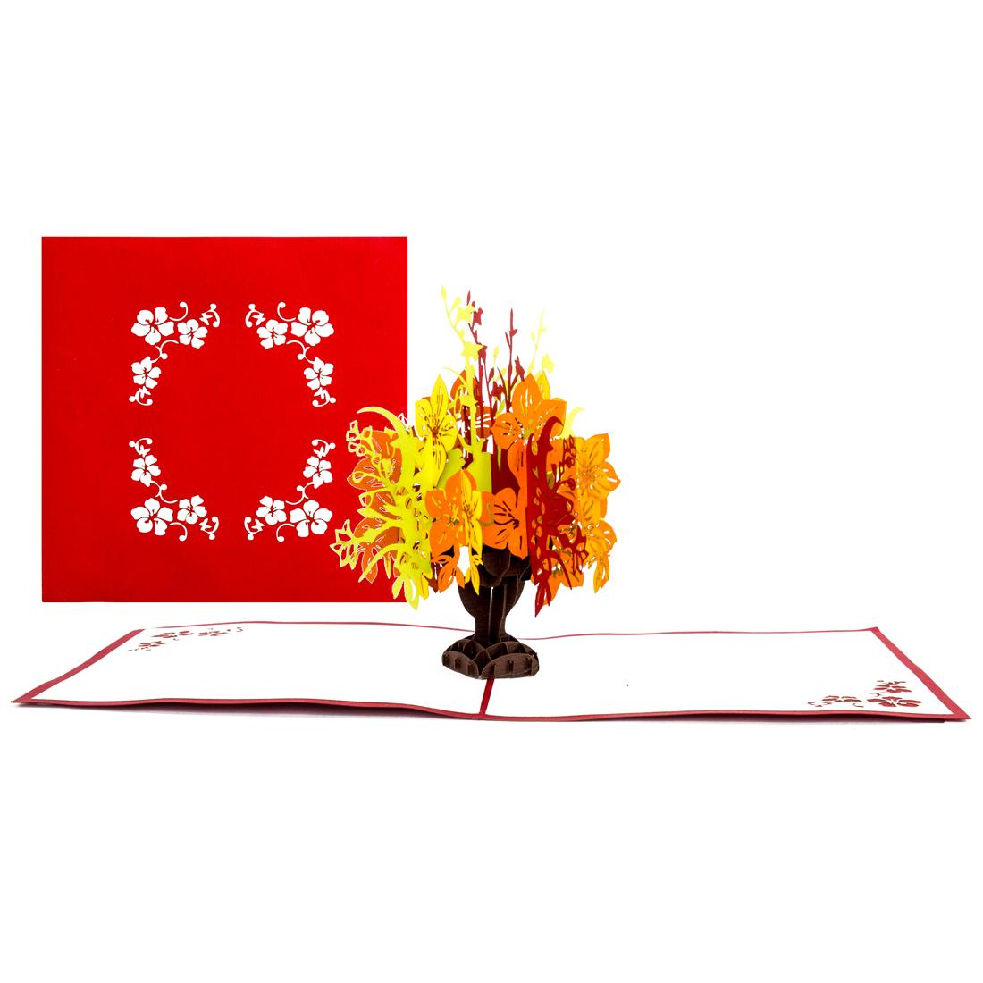 3D Pop Up Grußkarte Blumenmotiv