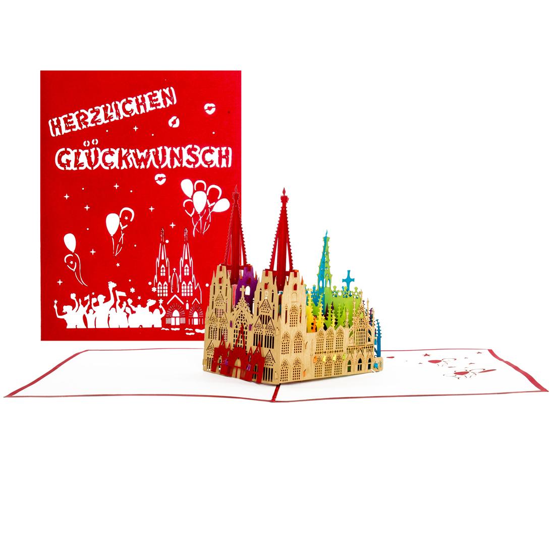 """3D Karte """"Kölner Dom - Happy Cologne Pride"""" - Grußkarte mit Umschlag"""