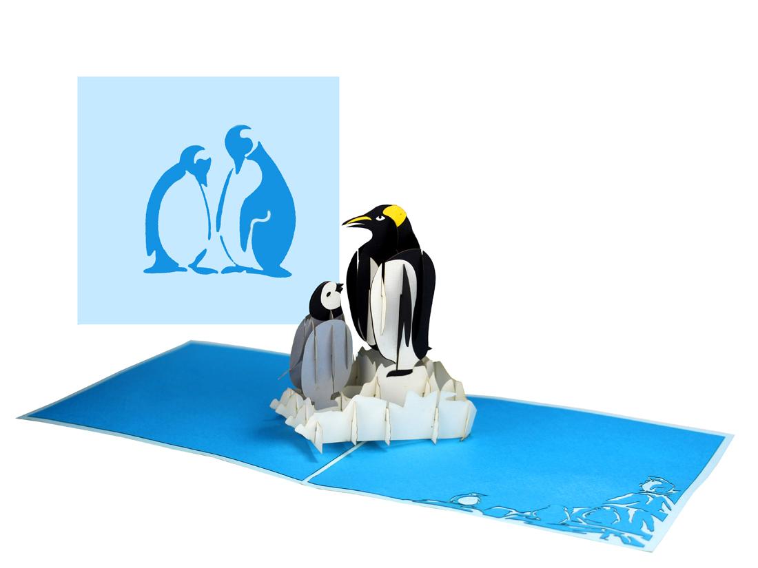 """Pop Up Karte """"Pinguine"""" - Einladungskarte, Geburtstagskarte mit Umschlag"""