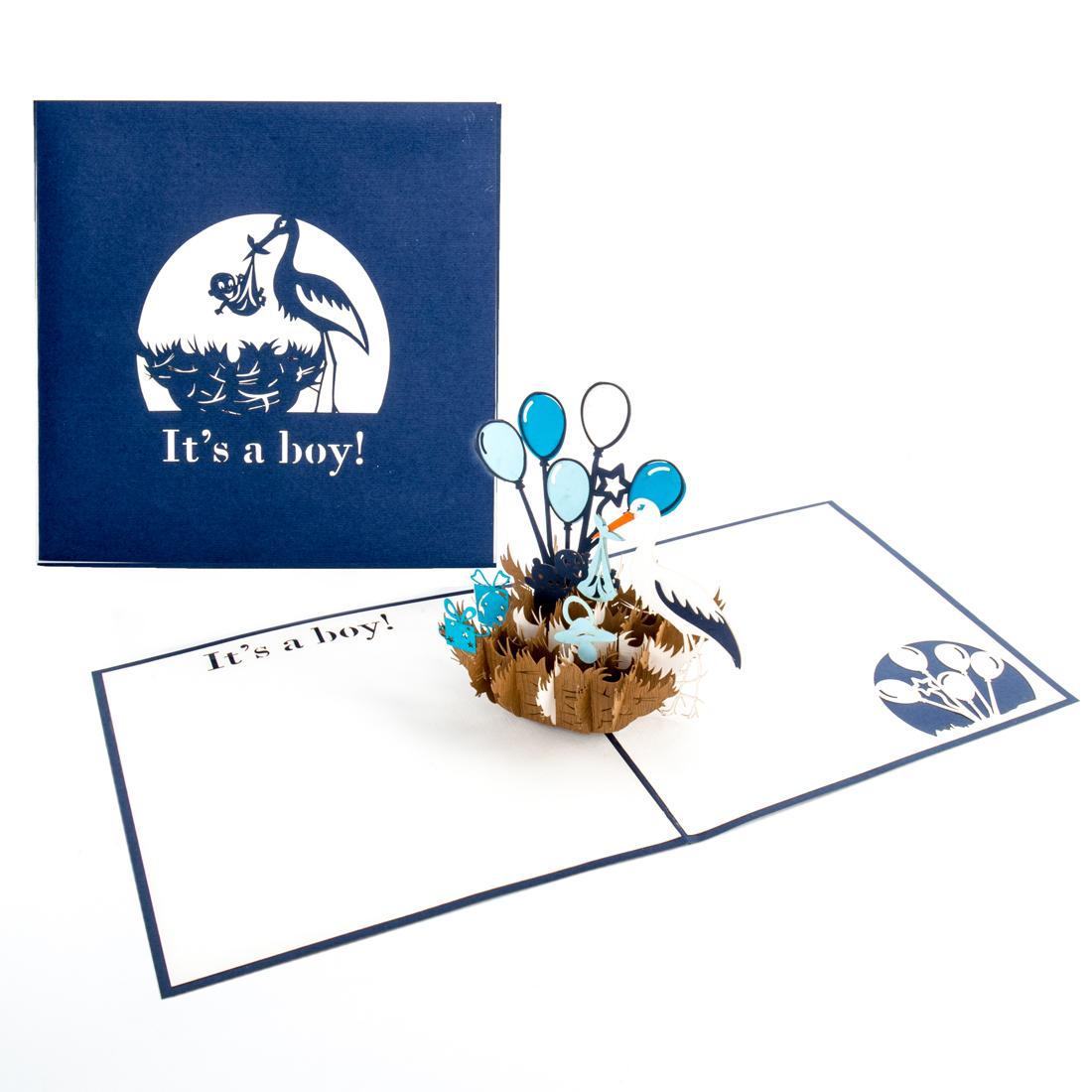 """Pop Up Karte """"It's a boy - Storchennest"""" - Geburtskarte, Glückwunschkarte zur Geburt"""