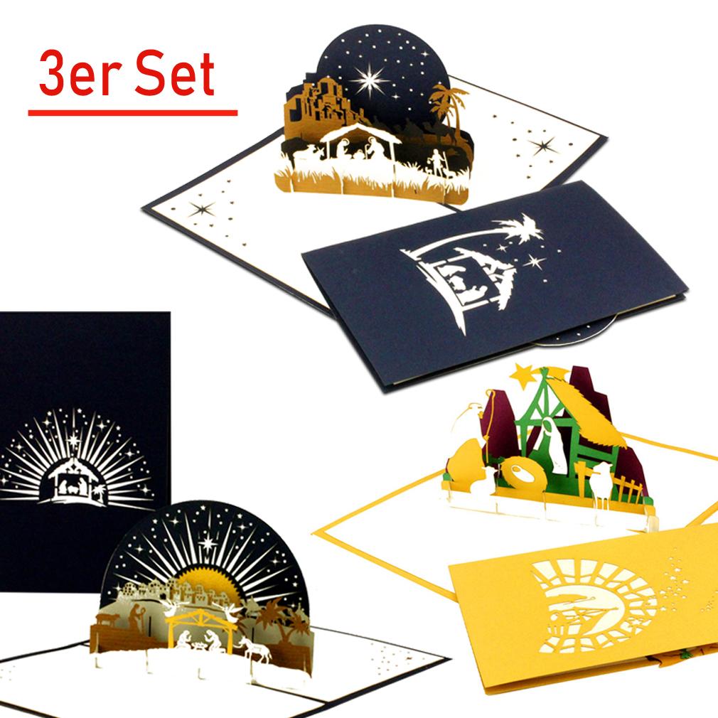 """3er-Set Weihnachtskarte """"Krippe"""" gemischt"""