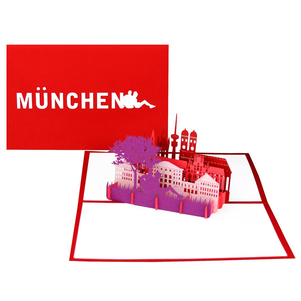"""Pop Up Karte """"München"""" - Glückwunschkarte, Reisegutschein zum City Trip"""