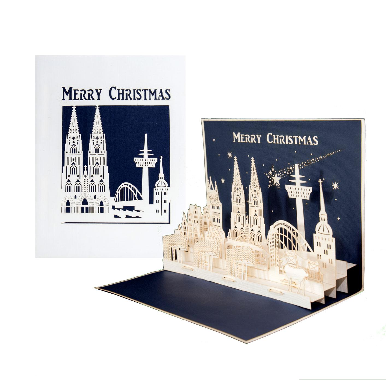 """Köln Panorama - """"Merry Christmas"""" Blau"""