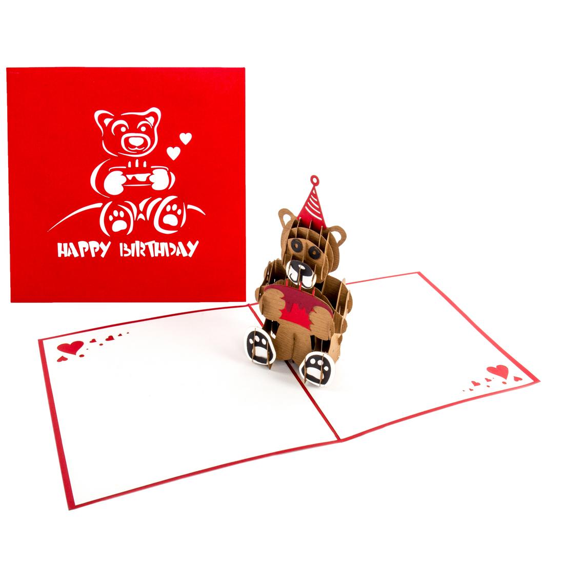 """Pop Up Karte """"Braunbär"""" - Geburtstagskarte für die Freundin, Glückwunschkarte"""