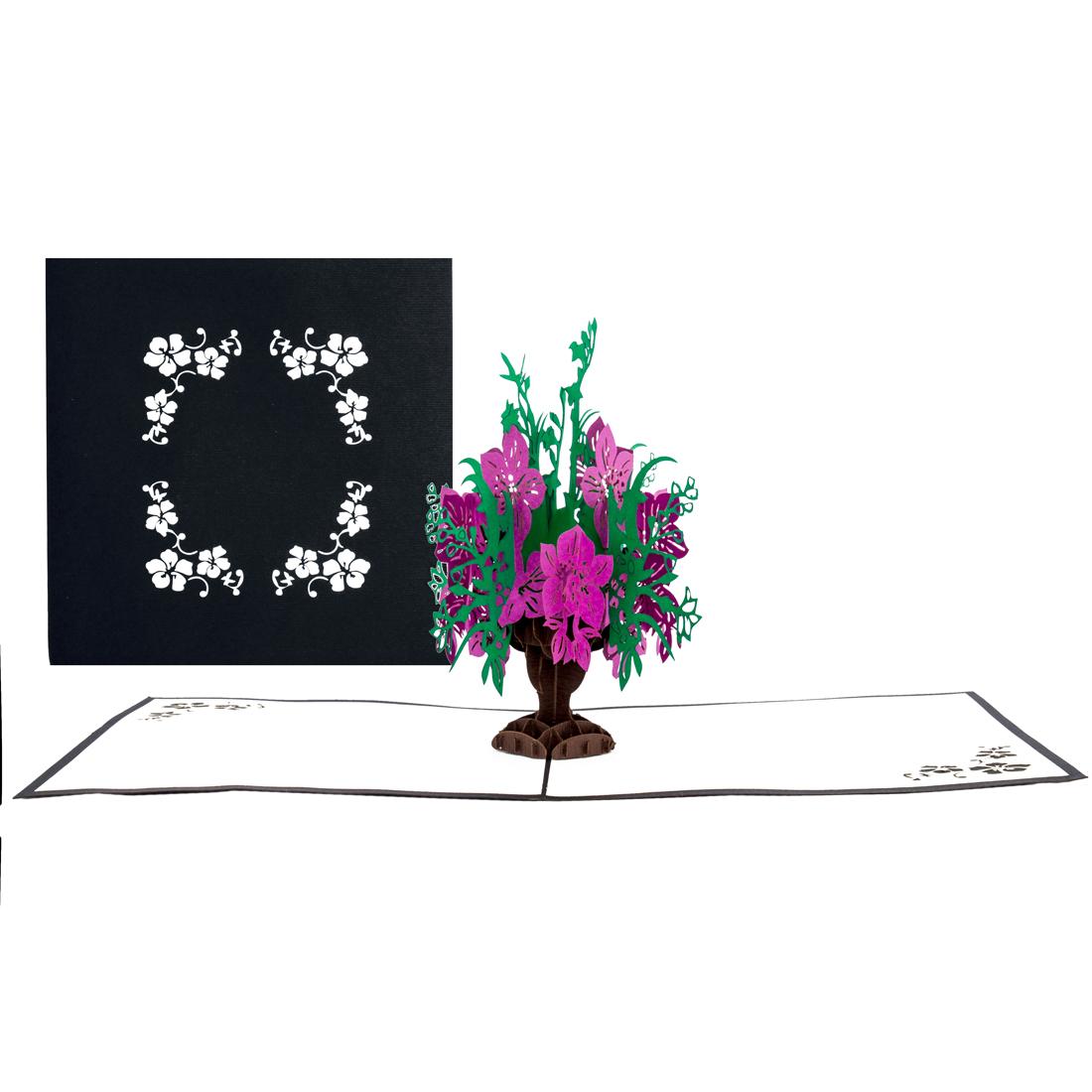 "Pop Up Karte ""Blumenbouquet"" - Blumenkarte, Geburtstagskarte, Genesungskarte, Dankeskarte"